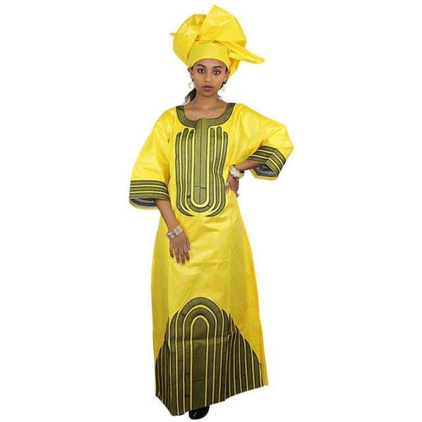 African Clothing For Women African Bazin Embroidery Long Dress with X21271
