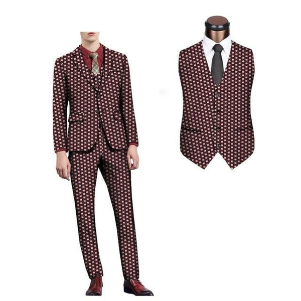 Ankara 3-set Suit for men- pants-suit with vest Y10886