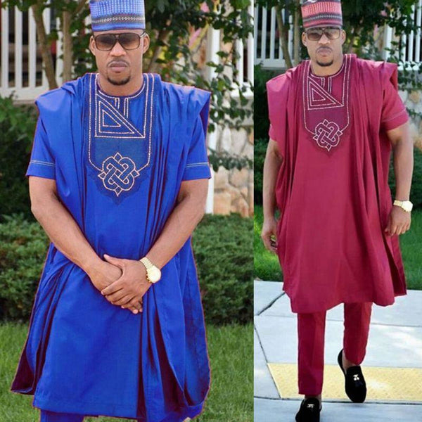 Traditional African Embroidery 3-piece Men Robe Y20778