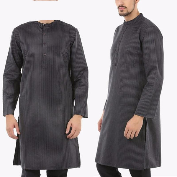 Saudi Men Kurta Suit Striped Thobe Jubba Long Striped Shirt for Y10796