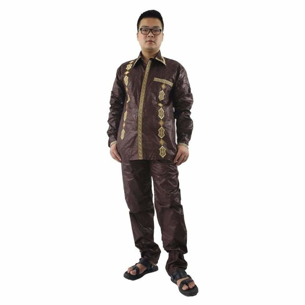 African Cloth Men Bazin Dashiki Shirt-Pants/Trouser 100% Cotton Y20762
