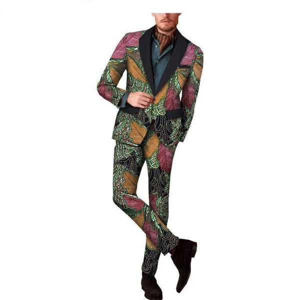 Africa print reversible jacket blazer suit for men Y10887