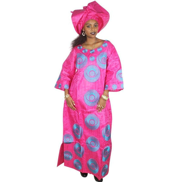 African Clothing For Woman Bazin Riche Embroidery Kaftan with Scarf X21192