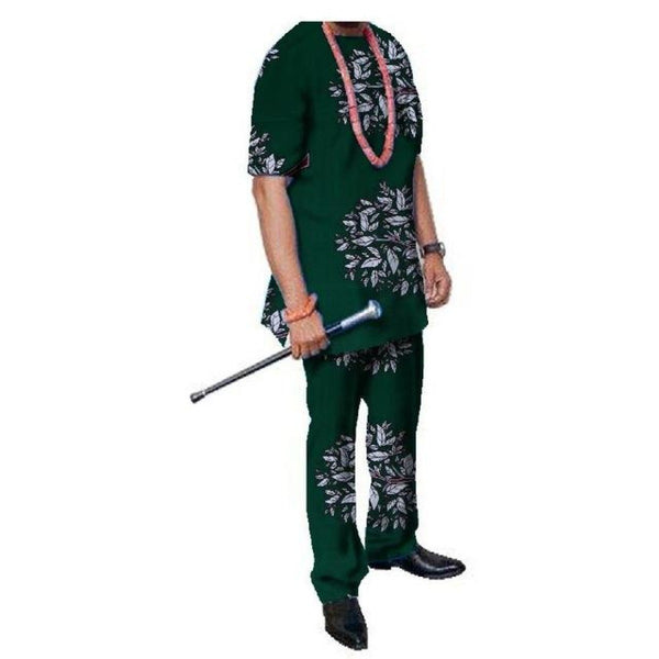 African Mens Pant Set Traditional Top and Trousers Set Dashiki African Y10856