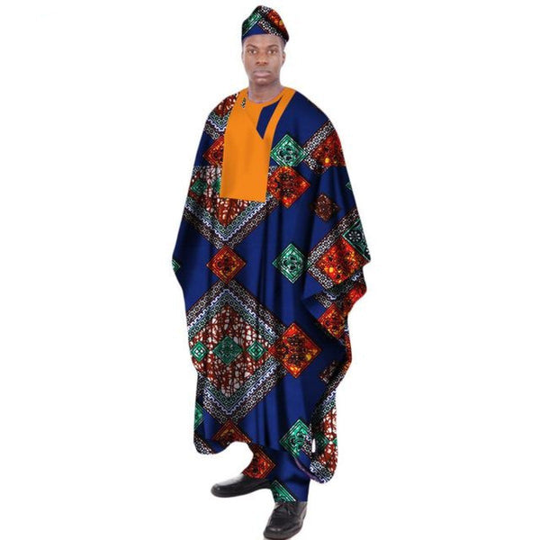 African Print Wax Tailored Long Men Loose Plus Size Robe Dashiki Y10902