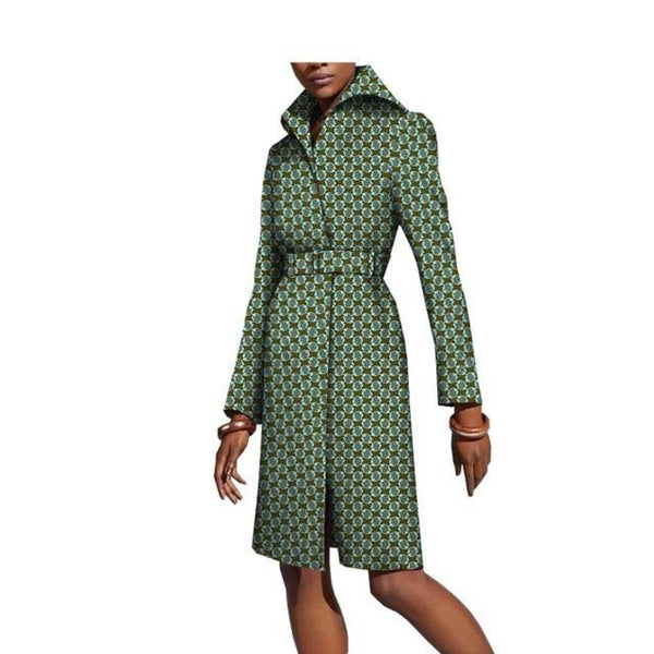 african print long knee-length notch-collar coat outwear for women X10409