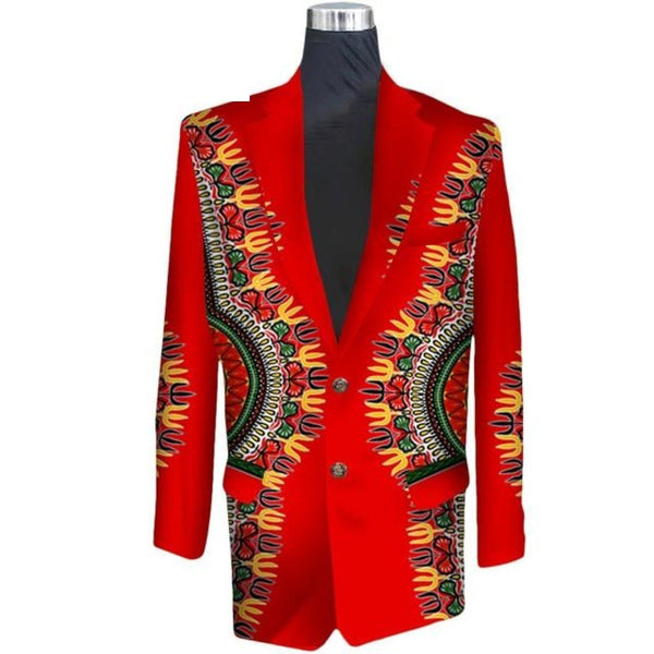 African Elegant Fashion Men Slim Fit Cotton Blazer Suit Coat Cotton Wax Y10527
