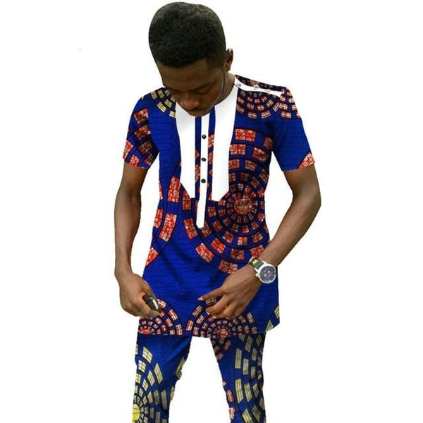 Traditional African Clothing Men'S Set Short Sleeve Top with Pants Ankara Y10842