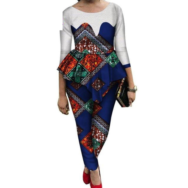 African Ankara Bazin Wax Print Long Sleeve Top and Pants for X10673