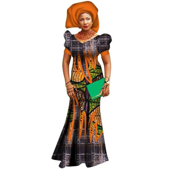 African Dresses For Women Bazin Riche Wax Print  X11433