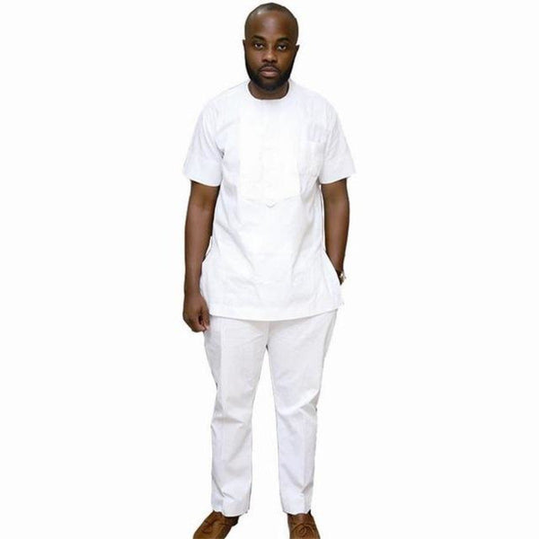 African Style Short Sleeve T-Shirt Top and Pants Men Cotton Wax Print Y10811