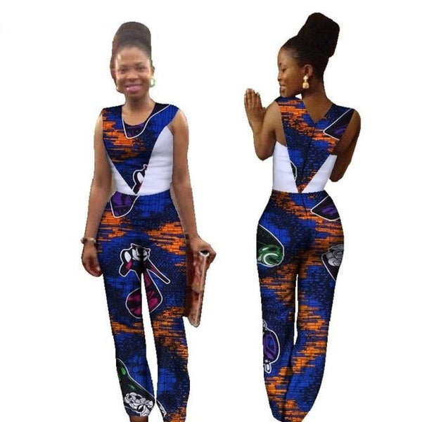 Africa Cotton Wax Print Romper African Bazin Riche Sexy Jumpsuit For X11530