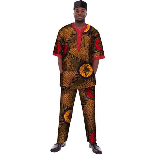 Traditional African Print Dashiki For Men Casual Top with Pants-Trousers Y10840