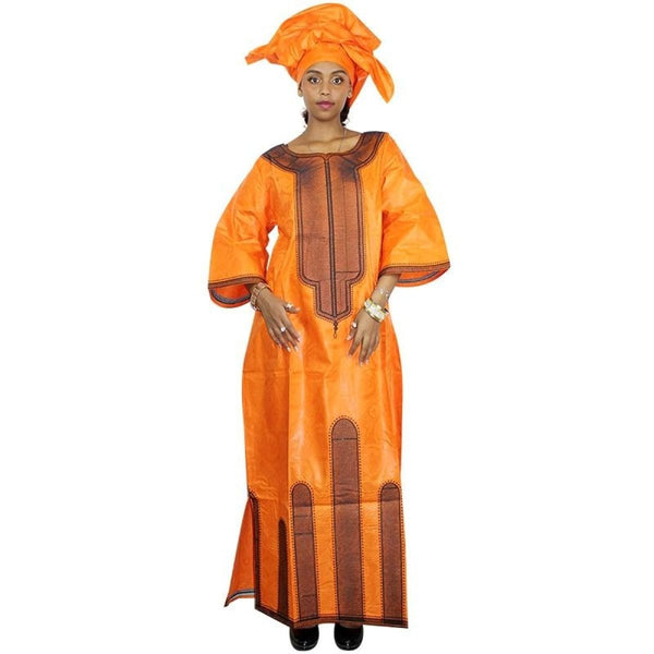 African Clothing For Woman Bazin Riche Embroidery Dashiki Long Dress with scarf X21237