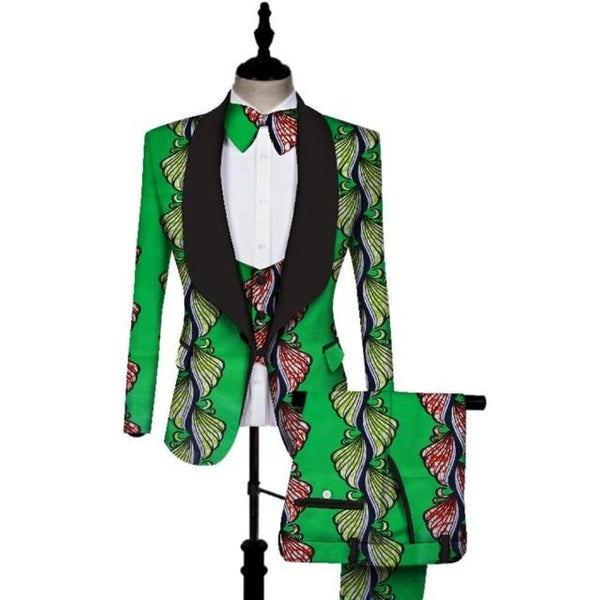Traditional Dashiki African Bazin Print 3Piece Men Pants-Suit-Vest Set Y10877