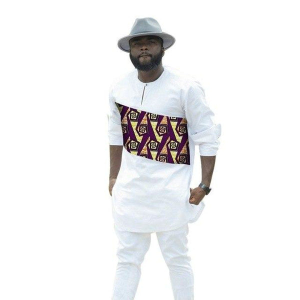 African Men Clothing White Cotton Wax Mix Long Sleeve Patchwork Y10830