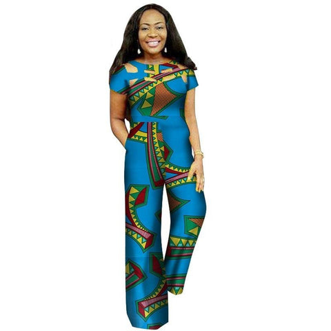 100% Cotton African Dashiki Bazin Wax Print Hollow Jumpsuit for X11490