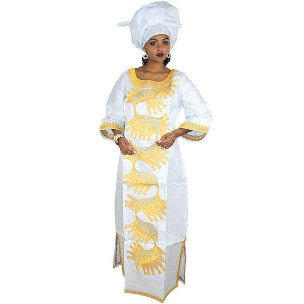 African Clothing For Women Embroidery Dashiki Bazin Long Dress Design X21248