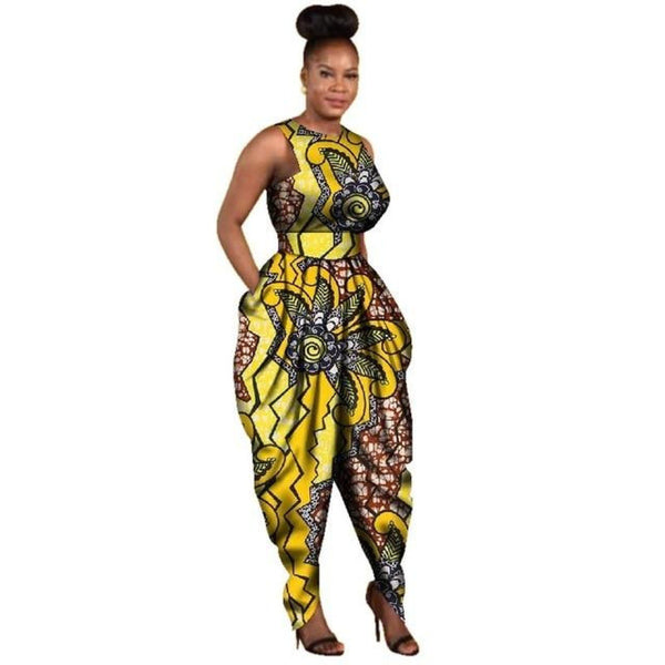African Dashiki Cotton Print Sleeveless Jumpsuit for X11487