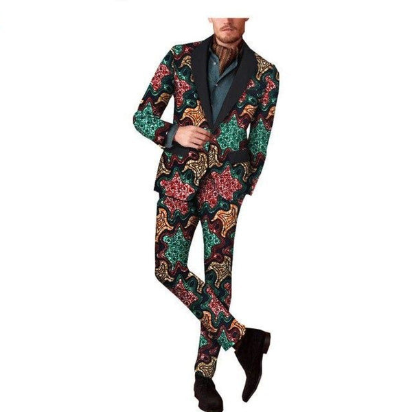 African Prints Full Sleeve Reversible Jacket Suit Blazer + Straight Pants Y10890