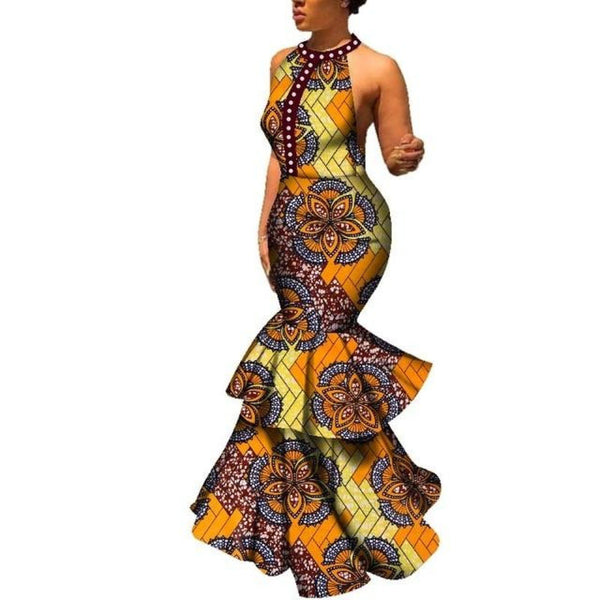 African Dashiki Print Long Sexy Mrmaid Sleeveless Backless O-neck X11350