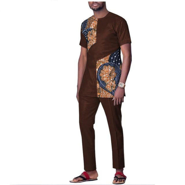 African wax clothing for men short sleeve top with ankle length Y10805