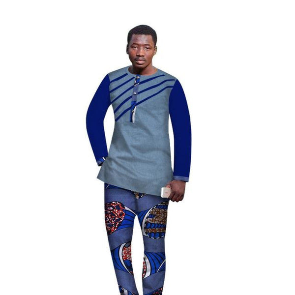 African Men Custom-Made Clothing Cotton Wax Mix Long Sleeve Top+Pants Y10831