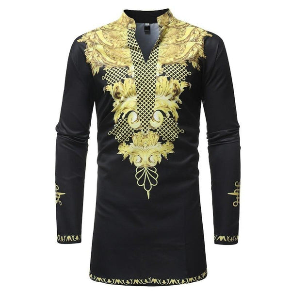 Dashiki Classic Hip-Hop African Men Hipster Stand Collar Longline Shirt Y10554