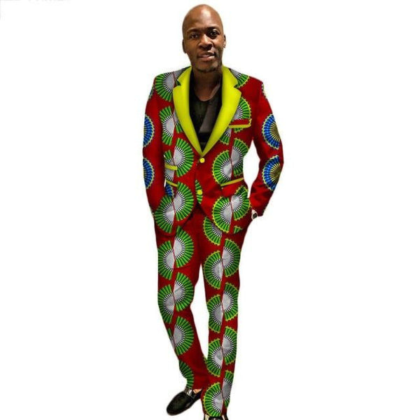 African Wax Prints Custom 2 Pieces Pants-Suits Sets for Men Y10883