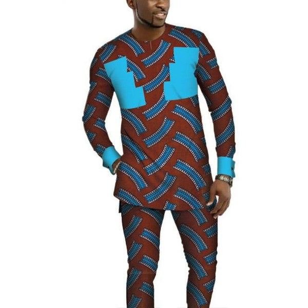 African Style Dashiki Bazin Riche 2 Pieces Top and Pants Sets for Y10791