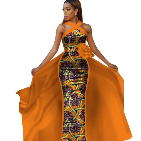 Tailor-Made African Dashiki Sleeveless Prom Dresses for X11367