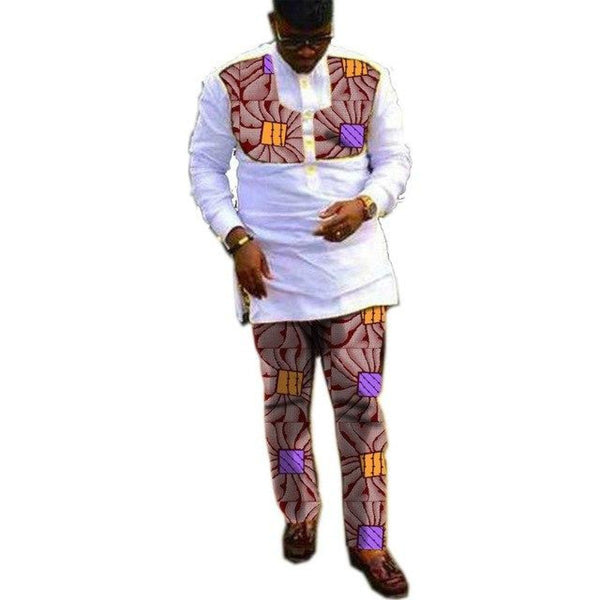 African Clothing For Men White Long Sleeve Patchwork Top and Pants Cotton Y10812
