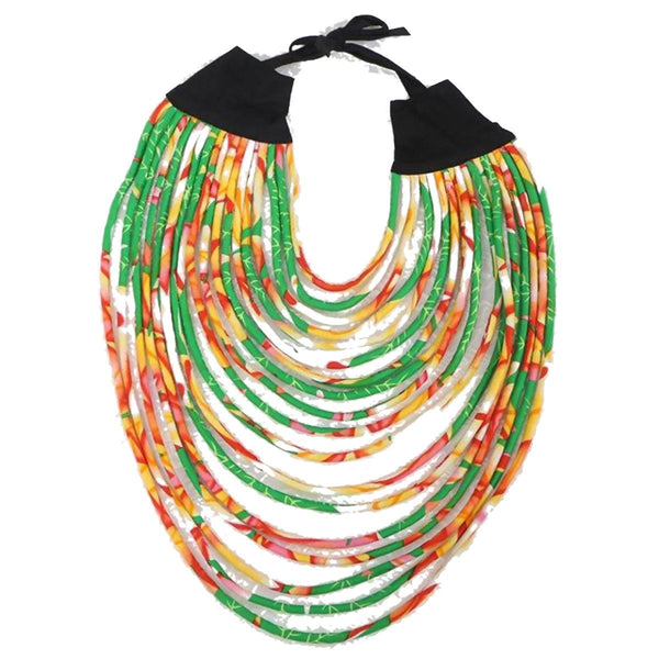 Hot Sale African Ankara Dashiki Handmade Multi-Layered Rope Necklaces For Q11766