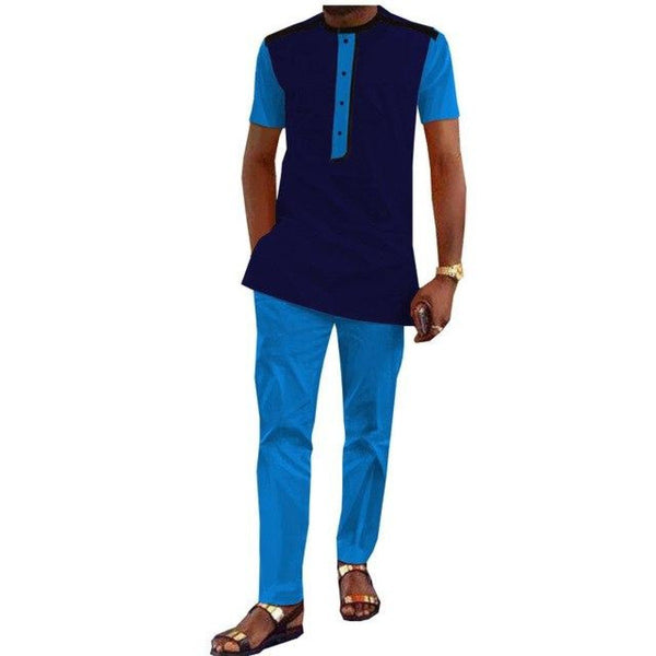 Casual Short Sleeve Single Breasted Top-Pants Set For Men African Cotton Y10834