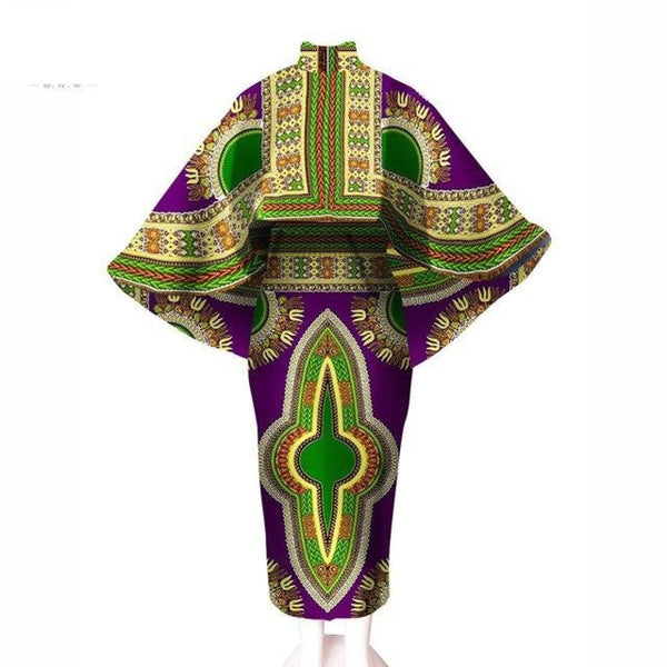 Dashiki Angelina African Women Print Winter Crop Top Cape and Dress Set X10416