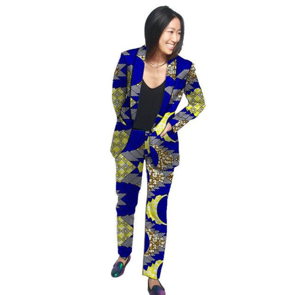 African Cotton Print Shawl Collar blazers Pants Suit Set for women X10707