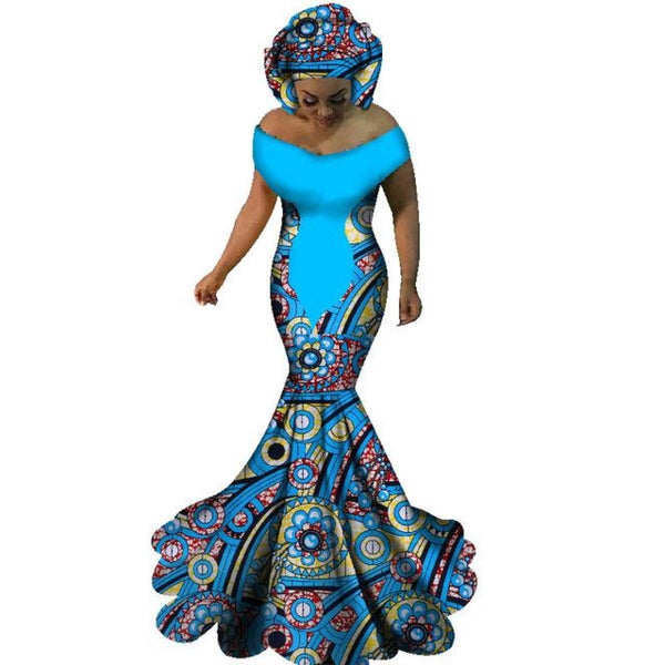 African Clothign Sexy Slash Neck Long Dress Women Cotton Print Kitenge X11416
