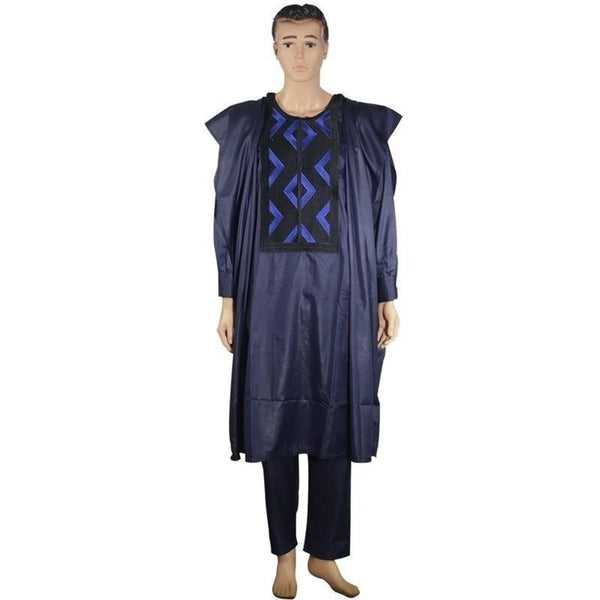 Navy Blue embroidered african men clothing dashiki 3 piece  Y20780