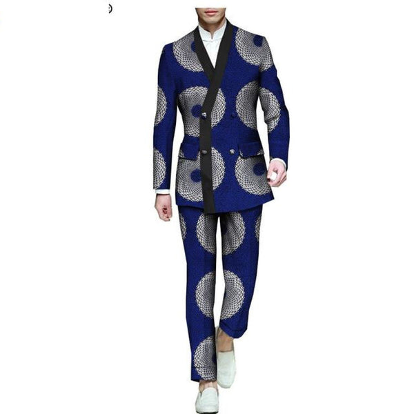 African print ankle-length pants single breasted suit for men Y10885