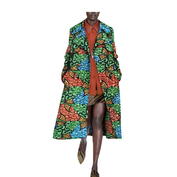 Africa Print women coat mid-calf length double button turn down  X10407