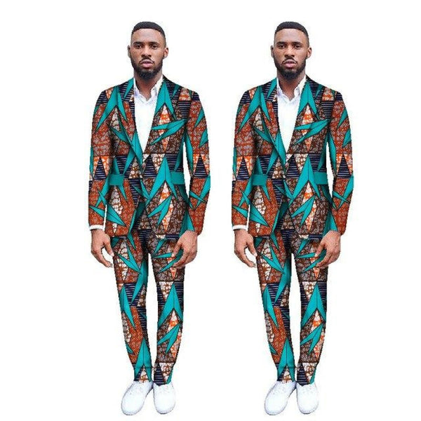 Custom Made Ankara Wax Print Blazer Suit With Pants Set for Y10878