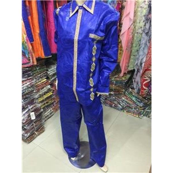 Embroidered 100% Plain Cotton Bazin Brocade Shirt and Pants for African Y20721