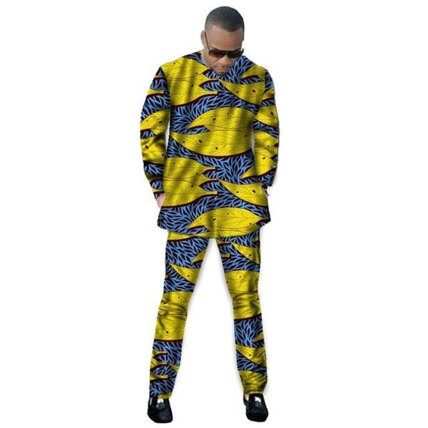 African Man'S Clothing Long Sleeve Tops-Pants Set Dashiki Cotton Wax Y10817