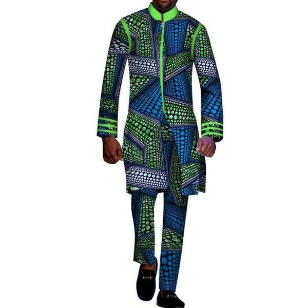 2 Piece Top Pants Ankara Dashiki Cotton Print Style African Clothing For Y10797