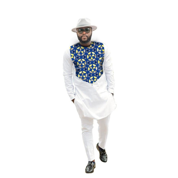 African Men Clothing White Cotton Wax Mix Cotton Long Sleeve Patchwork Y10828