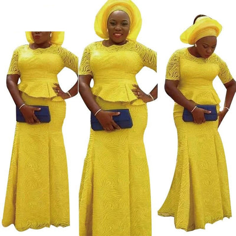 Embroidered African Lace Top-Skirt Set with Headtiefor X30912