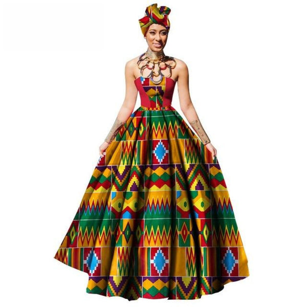 African Women Dress Dashiki Print Maxi Ball Gown Strapless Party with X11330