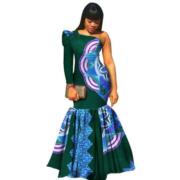 African Women Dashiki Vestidos Bazin Riche Mermaid X11344
