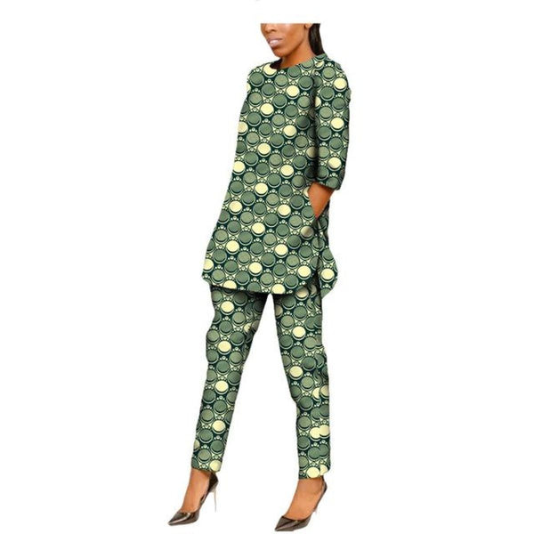 Casual African Women Half Sleeve Side Open Shirt and Ankle-Length Pants X10690