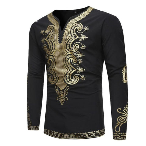 Mens Hipster Hip-Hop African Dashiki Classic V-Neck Long-Sleeve Shirt Y10558